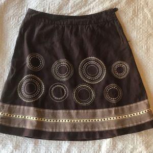Talbots brown linen skirt sz 14